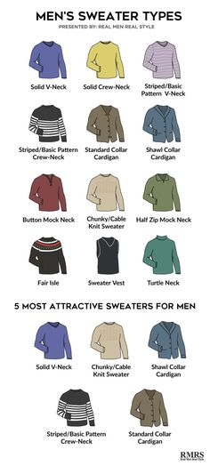 5 Most Attractive Sweaters For Men InfographicYou can find Men sweater and more on our Most Attractive Sweaters For Men Infographic Mens Fashion Sweaters, Casual Sweaters, Men Sweater, Winter Sweaters, Mens Sweater Styles, Mens Sweater Outfits, Winter Hats, Look Fashion, Trendy Fashion