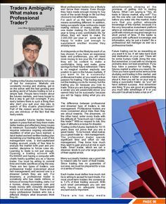 """""""Traders Ambiguity-What makes a Professional Trader?"""" Article Published in SAFE e-newsletter for November 2015!"""