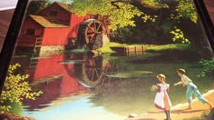 """Vintage """" OLD MILL STREAM"""" Painting By Paul Detlefsen Cat.No 115 Framed 8""""x 10""""  #Realism"""