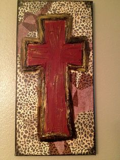 Red Maroon Leopard Cross Textured Canvas by ClassyCanvas on Etsy