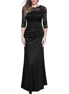 Miusol Women's Retro Floral Lace Vintage 2/3 Sleeve Slim Ruched Wedding Maxi Dress, XX-Large, Black