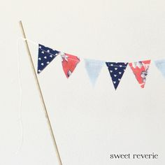 Cake Topper Bunting  Mini Vintage Fabric Flag by asweetreverie, $14.00