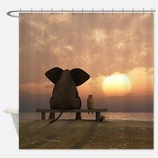 Elephant and Dog Friends Shower Curtain for