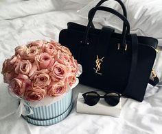 YSL bag, Chloé sunglasses, and beautiful flowers. Prada Handbags, Burberry Handbags, Fashion Handbags, Fashion Bags, Louis Vuitton Handbags, Fashion Accessories, Black Handbags, 90s Fashion, Fendi