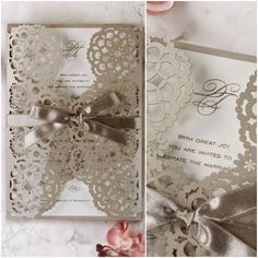 Filigree Latte Lace Laser Cut Gatefold Wedding Day Invitation with gold raised ink (thermography printing) from Cartalia Laser Cut Wedding Stationery, Order Of Service, Invitation Envelopes, Card Sizes, Laser Cutting, Filigree, Latte, Digital Prints, Print Design