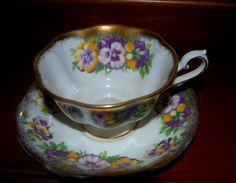 Royal Albert  vibrant purple and  marigold pansy  by capecodgypsy, etsy