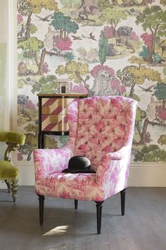 patternsnap John Sankey buttoned Wainwright Chair in Bizet Hot Pink, with Cole & Son Versailles Grand
