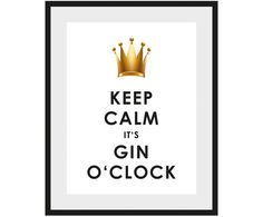 Gerahmter Digitaldruck Gin O'Clock, Bild: Weiß, Schwarz, Goldfarben Rahmen: Schwarz