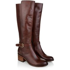 Monsoon Maci Riding Boot (3,425 MXN) ❤ liked on Polyvore featuring shoes, boots, elastic boots, buckle boots, block heel boots, brown buckle boots and riding boots