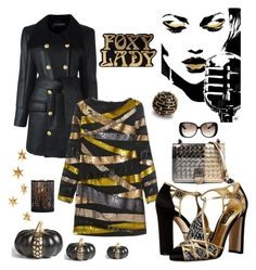 """Off to the party"" by kotnourka ❤ liked on Polyvore featuring Balmain, Emilio Pucci, Dolce&Gabbana, Bottega Veneta, Gucci, Livingly, Levtex and L'Objet"