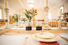 Country Wedding Reception Table Setting