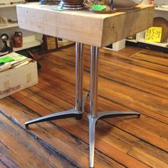 Butcher block table $75