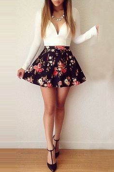 Cheap Fashion V Neck Long Sleeves Mini Floral Print Ball Gown Mini Dress_Dresses_Womens Clothing_Cheap Clothes,Cheap Shoes Online,Wholesale Shoes,Clothing On popmiss.com