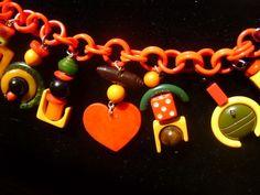 Vintage Bakelite Charm Bracelet Valentine Heart Celluloid Chain | eBay