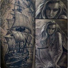 ship and  Mermaid tattoo  #sailing #sailor #mermaid #ship #tattoo #tattooed #inked #ink #tatts #instatattoo #instatattoos #newtattoo #sleeve #art #design #artist #tattoos #photooftheday #picoftheday #bestoftheday #bodyart  #tattooart #tattooing #tattooartist #tattoolife #tattoooftheday #tattooodessa #dragonfly #inkmachines