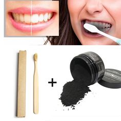 GENKENT 3 PCS Teeth Whitening Set Tooth Whitening Charcoal Powder with 2PCS Wooden Bamboo Toothbrush Oral Care Soft Bristle #Affiliate