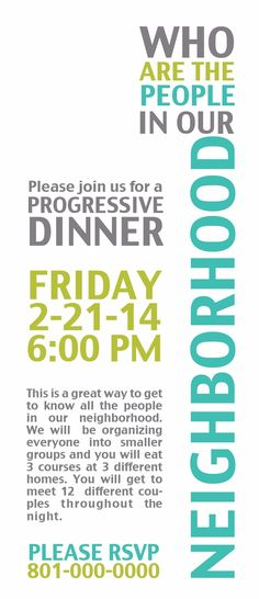 Great Ward or Neighborhood Activity. Progressive Dinner how to.