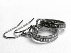 Hand Crafted Double Sided Dime Earrings Coin Ring by LuckyLiberty, $60.00
