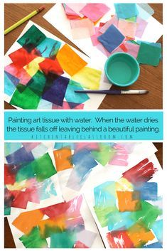 Choosing colors & painting water over them. Watching the water smooth them down and colors bleed together. Tissue paper art is relaxing and suitable for any age level. It's perfect on it's own as a process art activity or as a colorful first step. Tissue paper painting is also known as a tissue paper bleed.