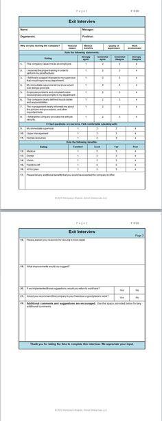 Employee Exit Form Human Resource Management Human Resources