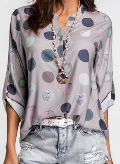 Shop Floryday for affordable Tops. Floryday offers latest ladies' Tops collections to fit every occasion. Casual Outfits, Fashion Outfits, Women's Fashion, Fashion Blouses, Fashion Hoodies, Women's Casual, Fashion Ideas, Winter Fashion, Dots Fashion