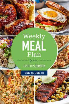 Skinnytaste Meal Plan (July A free flexible weight loss meal plan including breakfast, lunch and dinner and a shopping list. All recipes include calories and Weight Watchers SmartPoints®. recipes for weight loss Weight Loss Meals, Weight Watchers Meals, Planning Budget, Meal Planning, Plats Weight Watchers, Fat Burning Foods, Meals For The Week, Diet And Nutrition, Lunches And Dinners