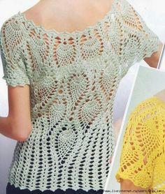 Crochet blouse // pineapple stitch // chart, diagram