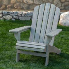 Belham Living Shoreline Adirondack Chair Set with Side Table - Driftwood