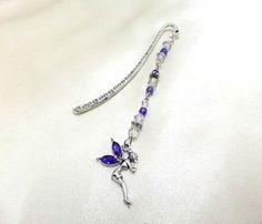Pretty Blue Rhinestone Fairy Beaded Bookmark by BeadSparkleZ