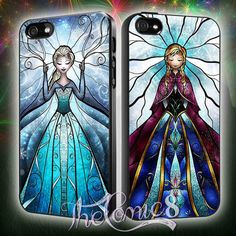 elsa and anna disney frozen stained glass Couple MJ7 Design for iPhone 4/4s/5/5s/5c and Samsung Galaxy s3/s4 Case