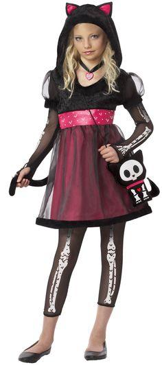 Skelanimals Kit Gothic Cat Kids Costume