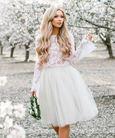 Audrey Lace Bell Sleeve Top - buy this top and make a tulle skirt, possibly maternity?