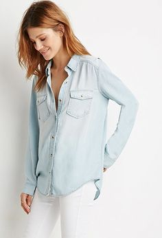 Chambray Button-Down Shirt | LOVE21 | #f21contemporary