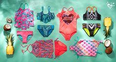New reversible swimwear = double the splashy style!