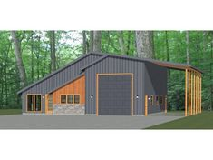 This is a PDF Plan available for Instant bedroom, 2 bath home with 1 RV, bus, or big rig garage and RV port. It has a shop, microwave over range & stacked washer/dryer. Pole Barn Garage, Pole Barn House Plans, Garage House Plans, Pole Barn Homes, Shop House Plans, House Floor Plans, House 2, Pull Barn House, Barn Style House Plans