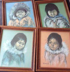 Dorothy Francis  4 Framed Prints Inuit Eskimo Children Canada Vintage Rare Find! in Home & Garden, Home Décor, Posters & Prints | eBay!
