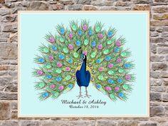 Peacock Fingerprint Guest Book for Wedding Birthday by BonjourEmma