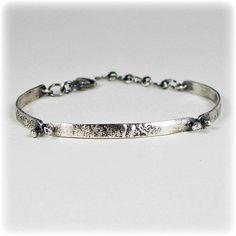 Sterling Silver Textured Link Bracelet - Verna Bracelet