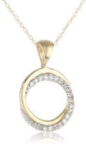 "Amazon.com: 10k Yellow Gold Diamond Circle Pendant Necklace (1/10 cttw, I-J Color, I2-I3 Clarity), 18"": Jewelry"