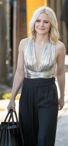 Kristen Bell: Shirt and pants – Maria Lucia Hohan  Earrings – Bavna  Purse – Saint Laurent  Shoes – Jimmy Choo