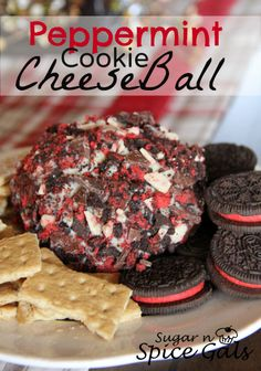 Sugar n' Spice Gals: Peppermint Cookie Cheese Ball. This is what you get when cookies and cheese cake collide.Check out this sweet twist on the traditional salty cheese ball.   http://www.sugar-n-spicegals.com/2012/12/peppermint-cookie-cheeseball.html