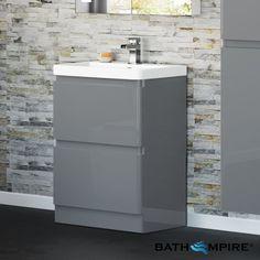 Denver Gloss Grey 600mm Built In Basin Drawer Unit - Floor Standing