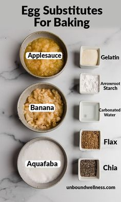 The 8 egg substitutes are the best-kept secret when it comes to baking hacks! Here's how to use them, tips, tricks, and more. Baking Hacks, Baking Tips, Food Hacks, Food Tips, Egg Free Recipes, Real Food Recipes, Recipe Links, Cooking 101, Cooking Recipes