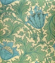 'Anemone' design (textile) by William Morris, 19th century... via Bridgeman Images