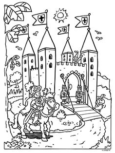 Castle colouring in page by johnnie Art Drawings For Kids, Drawing For Kids, Art For Kids, Abc Coloring Pages, Coloring Sheets, Chateau Fort Moyen Age, Castle Crafts, Medieval Party, Knight Party