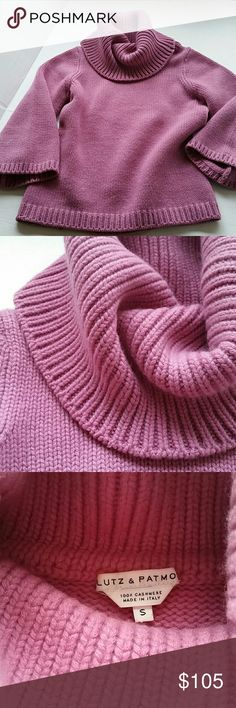 """Lutz & Patmos Cashmere Lilac Sweater Purchased from Barney's New York, thick ply cashmere in excellent condition, no pilling or wear, loose turtle neck can be manipulated to fold in various ways, 3/4 slight bell sleeve, size small, beautiful color as shown, 21"""" long, 16.5"""" armpit to armpit, 16.5"""" width at hem. Firm unless bundled. Lutz & Patmos  Sweaters Cowl & Turtlenecks"""