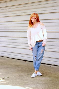 Fashion Fairy Dust style blog: cold shoulder sweater, distressed boyfriend jeans, Converse