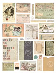 Printable Vintage Ephemera Scraps Children  - Digital Collage Sheet as an instant Download File