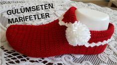 Ponponlu kırmızı patik yapımı ( 2.bölüm, kolay patik yapımı, crochetslip...