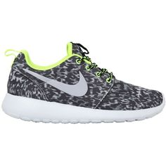 NIKE Roshe Run Leopard Print Running Sneakers - Cool Grey ($96) ❤ liked on Polyvore featuring shoes, sneakers, nike, sapatos, 19. shoes., cool grey, grey sneakers, fleece-lined shoes, neon shoes and leopard print sneakers